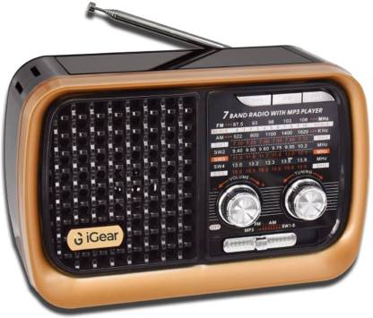iGear Vintage Vibes - 7 Band Radio FM/AM/SW with MP3 Player Bluetooth, USB, TF/SD Card, inbuilt 1200 mAh Rechargeable Battery, and Built-in Torch, Retro Style FM Radio