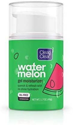 Clean & Clear Hydrating Watermelon Gel Facial Moisturizer, Oil-Free Daily Face Gel Cream to Quench & Refresh Dry Skin, Lightweight & N