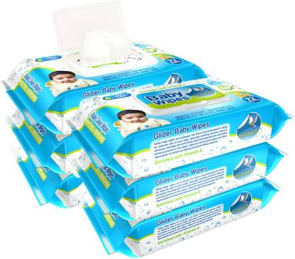 GLIDER Baby Wipes - with Moisture Lock Flip-Top , Contains Aloe Vera & Vitmain E , pH balanced with No Parabens & Chlorine - Pack of 6