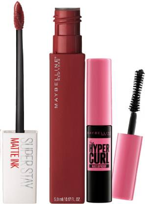 MAYBELLINE NEW YORK Super Stay Matte Ink Liquid Lipstick Voyager With Hypercurl Mini Free, 19.5 g (Pack of 2)
