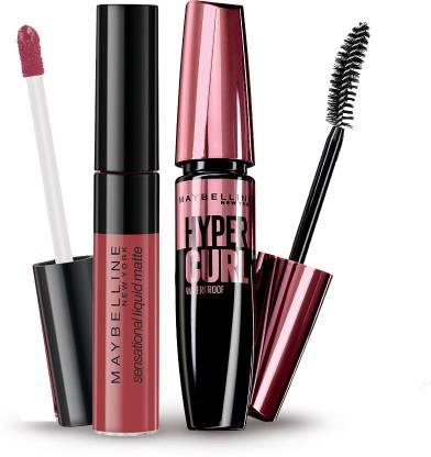 MAYBELLINE NEW YORK Sensational Liquid Matte Lipstick, Sensationally Me and Hypercurl Mascara Waterproof, 16.2g