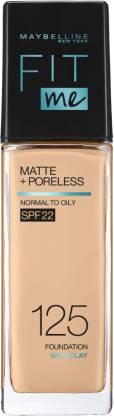 MAYBELLINE NEW YORK Fit Me Matte+Poreless Liquid Foundation (With Pump & SPF 22), 125 Nude Beige, 30 ml Foundation