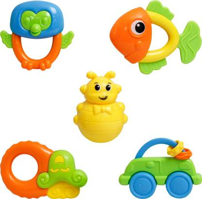 NHR Non Toxic Multi Colored Baby Rattle & Teether Toys for Kids, Set of 5 Pcs - Colourful Lovely Attractive Rattles for Babies, Toddlers, Infants & Children (2 to 12 Months) Teether