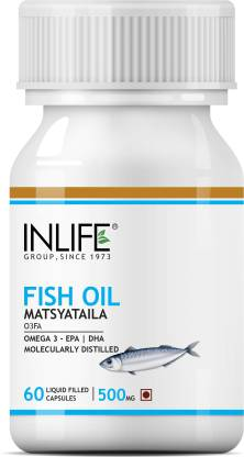 Inlife Fish Oil Omega 3 Fatty Acids Supplements EPA DHA for Men Women 500mg Capsules