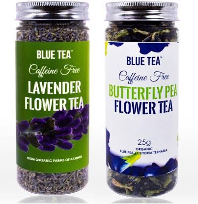 BLUE TEA Butterfly Pea Flower- CERTIFIED ORGANIC-25g & Lavender- 30g - Combo Pack Lavender Herbal Tea Plastic Bottle