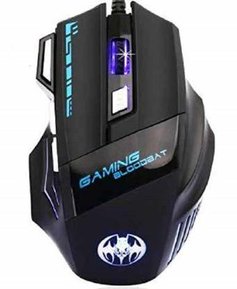 MFTEK BLOODBAT Mouse 7 LED Colors 7 Button Wired Optical Gaming Mouse DPI (1000-5500) Black Wired Optical  Gaming Mouse