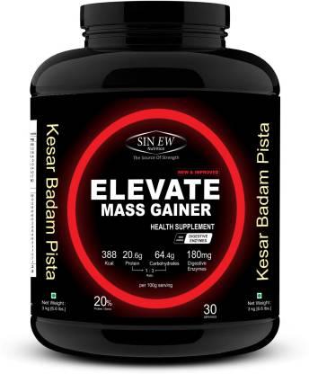 SINEW NUTRITION Elevate Mass Gainer 3Kg Kesar Pista Badam Weight Gainers/Mass Gainers