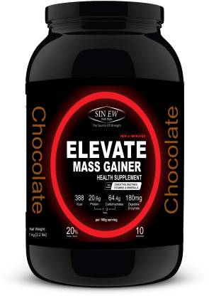 SINEW NUTRITION Elevate Mass Gainer 1kg Chocolate Weight Gainers/Mass Gainers