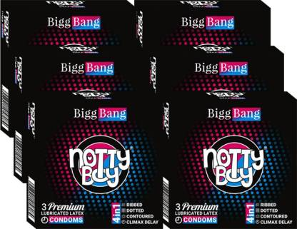 NottyBoy BiggBang 4in1One (3sx6) - Ribbed,Dotted,Delay & Contour Condom