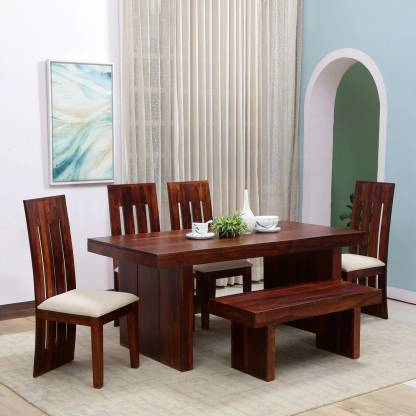 1 Bench Solid Wood 6 Seater Dining Set, Wood Dining Room Table