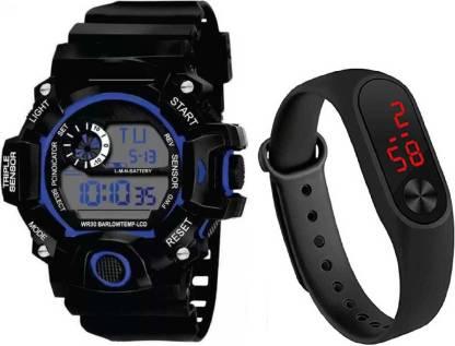 Flozio Multi-functional kids Children Student Sports Waterproof Clock LED Digital Date Wrist Watch N1725 Digital Watch - For Boys
