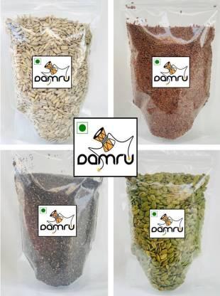 Damru Healthy Raw Seeds Combo 400gms, (Pumpkin Seeds, Sunflower Seeds, Chia Seeds, Flax Seeds 100gm Each)