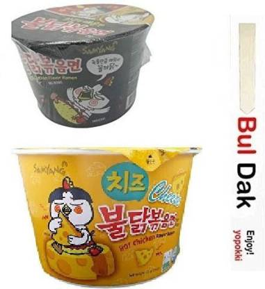 Samyang Big Cheese Bowl & stir fried Flavor Ramen Cup Noodle Soup With Chopstick 105gm*2Pack (Imported) (Pack of 2) Instant Noodles Non-vegetarian