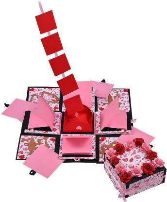 Gennies Handsel 3 Layered Hot Lip's D.I.Y all occasion explosion box Greeting Card