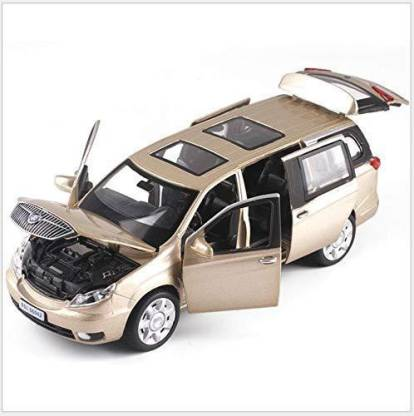 HIM TAX 1: 32 Scale Diecast Alloy Metal Luxury Mpv Car Model for GM Buick GL8 Collection Vehicle Model Pull Back Sound&Light Toys Car