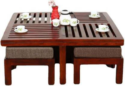BM Wood Furniture Wooden Square Centre Coffee Table with 4 Stool for Living Room | Outdoor Center Table for Garden | Sheesham Wood, brown Finish Solid Wood Coffee Table