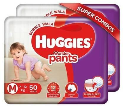 Huggies Wonder Pants Diapers Medium Size 50 Pieces Combo (Pack of 2) - M