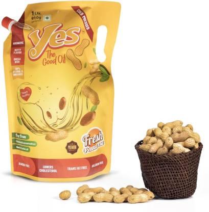 Yes The Good Oil Groundnut Oil - 1 Litre, Cold Pressed/ Fresh Peanut Oil/Chekku/Gani Oil Groundnut Oil Pouch
