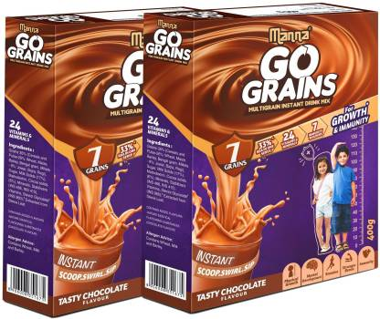 Manna Go Grains 800g (400g x 2 Packs) | Instant Multigrain Health & Nutrition Drink for Kids (Chocolate Flavour) | 7 Grains, 24 Nutrients for Growth, 7 Immunity Builders