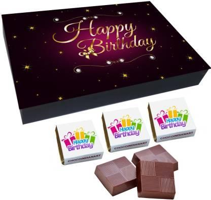 CHOCOINDIANART Happy BirthDay, 12 Chocolate Very Nice Gift Box, Truffles