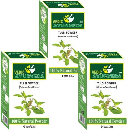 VEDICAYURVEDA Tulsi Powder for Hair Growth & Skin Care - Combo Pack (100% Natural)