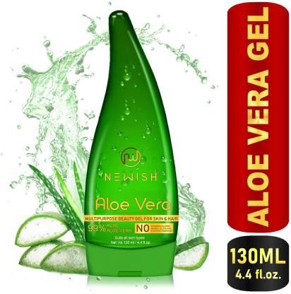 NEWISH Pure Aloe Vera Multipurpose Beauty Gel For Young Radiant Acne free Skin, Moisturizer & Hair Treatment 130 ML (130 ml)