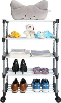 FLIPZON Premium 5 Shelve Smart Shoe Rack/Multipurpose Storage Rack with Wheels Metal, Plastic Shoe Stand