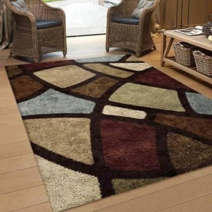 swami handloom Multicolor Polyester Carpet(121 cm X 182 cm)
