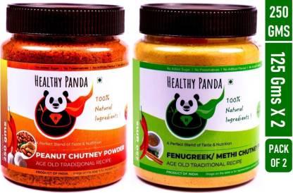 HEALTHY PANDA Peanut/ Groundnut/ Shenga Chutney and Fenugreek/ Methi Chutney - 125 Grams Pack each Chutney Powder