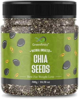 GreenFinity Chia Seeds 300g - Premium Raw Chia Seeds for Eating, Healthy Snack [Jar Pack].