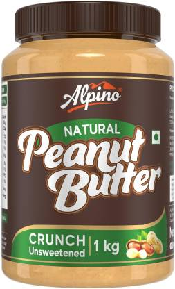 ALPINO Natural Peanut Butter Crunch 1 KG | Unsweetened | Made with 100% Roasted Peanuts | 30% Protein | No Added Sugar | No Added Salt | No Hydrogenated Oils | Non GMO | Gluten Free | Vegan | 1 kg