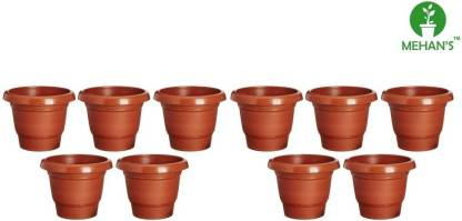 MEHAN'S Gardening Flower Pots-8Inch Round Garden Plastic Planters Pack of 10 Plant Container Set