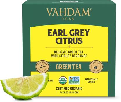 Vahdam Organic Early Grey Green Tea Bags Box