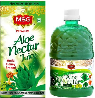 MSG Aloevera Juice with Amla and Brahmi (No Added Sugar) (Made From 100% Organic Aloe Vera Leaves) (Pack of 12,Full Box)