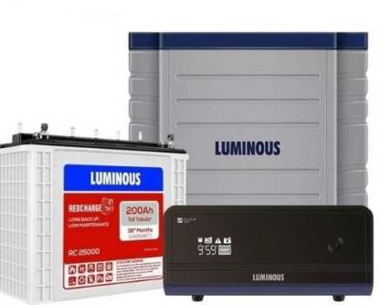 LUMINOUS Zelio 1100 Sine Wave Inverter with Red Charge RC25000 200Ah Battery and Trolley Tubular Inverter Battery