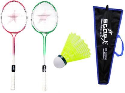 Star X Double Shaft Double Wiring Soft Grip Badminton Racket Cover Shuttle Cock ` Multicolor Strung Badminton Racquet