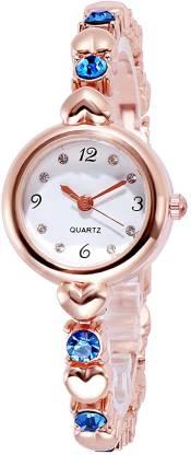 Daniel Jubile Exclusive Choice Blue Diamond Studded Rose Gold Bracelet Diamond Analog Watch - For Women