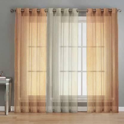 SB Textiles 152 cm (5 ft) Net Window Curtain (Pack Of 3)(Self Design, Multicolor)