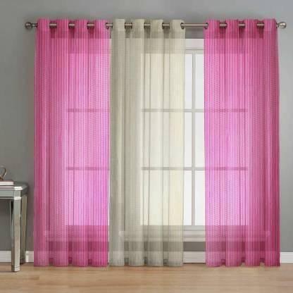 SB Textiles 152 cm (5 ft) Net Window Curtain (Pack Of 3)(Self Design, Pink)