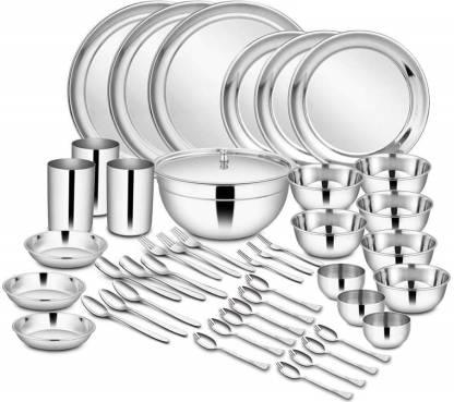 Shri & Sam Pack of 45 Stainless Steel High Grade Stainless Steel Dinner Set - 45 Pieces Dinner Set