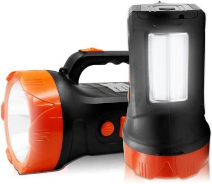 Sunaze Rechargeable High Range Emergency Search Light 75 Watt Laser + Side 2 Tube Emergency Light Torch
