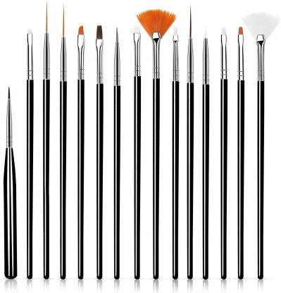 FOOLZY 15 Pieces Nail Art Design Painting Polish Manicure Pedicure Brushes