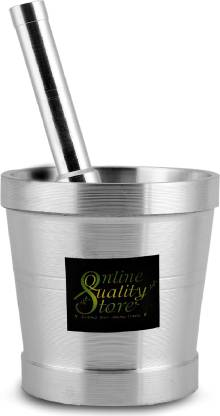 Online Quality Store High Quality Mortar & Pestle/Imam Dasta/Ohkli Musal/Kharal/Khalbatta/Okhli Masher/masher/8.89 CM Mortar & 14.9 CM Pestle Aluminium Masher