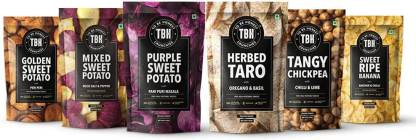 To Be Honest Fruit & Vegetable Chips Crunchies, 555g, Pack of 6, Ripe Banana, Chickpea, Taro and Sweet Potato Chips l Gluten Free Nutritious Snacks Combo