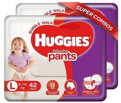 Huggies Wonder Pants Diapers Large Size Combo Pack of 2 - 42 Pieces Each - L