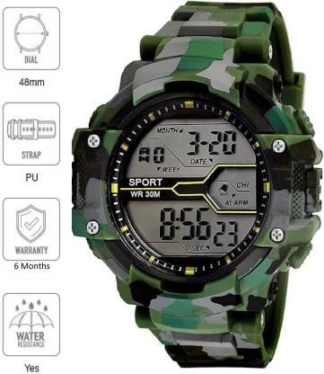 Flozio Digital Watches For Men - Buy Mens Digital Watches Online FL1017 Indian Army Green Digital Watch - For Boys