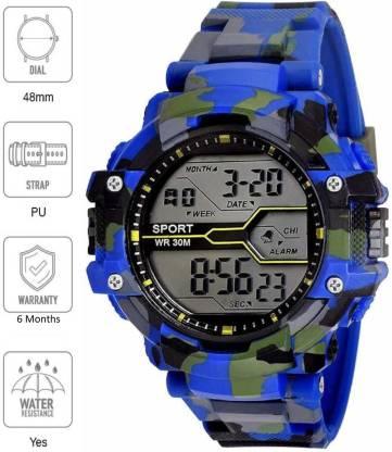 Flozio Digital Watches For Men - Buy Mens Digital Watches Online FL1017 Blue Digital Watch - For Boys