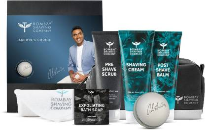 BOMBAY SHAVING COMPANY Ashwin's Daily Shaving Kit for Men with Pre Shave Scrub 100g, Shaving Cream 100g, Post Shave Balm 100g, Charcoal Soap 125g, Cricket Ball, Towel, Travel Bag