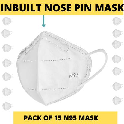 LOIS CARON FM-83 N95 MASK WITH METALLIC NOSE PIN REUSABLE ANTI-POLLUTION , ANTI-VIRUS BREATHABLE FACE MASK N95 WASHABLE ( WHITE) FOR MEN , WOMEN AND KIDS MASK , REUSABLE, WASHABLE Reusable