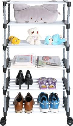 FLIPZON Premium 6 Shelve Smart Shoe Rack/Multipurpose Storage Rack with Wheels Metal, Plastic Shoe Stand